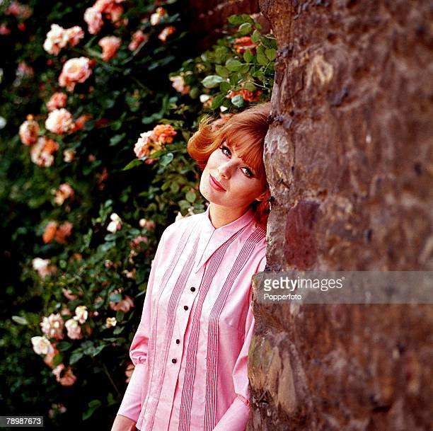 1960's A picture of an attractive woman wearing a smart pink blouse posing next to a tree