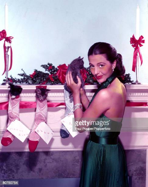 1950's A picture of the Hollywood dancer and actress Cyd Charisse holding a kitten next to a fireplace and mantlepiece decorated with holly bowsand...