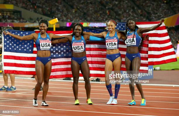 USA's Aaliyah Brown Morolake Akinosun Allyson felix and Ariana Washington celebrate winning gold in the Women's 4x100m Women's Relay during day nine...