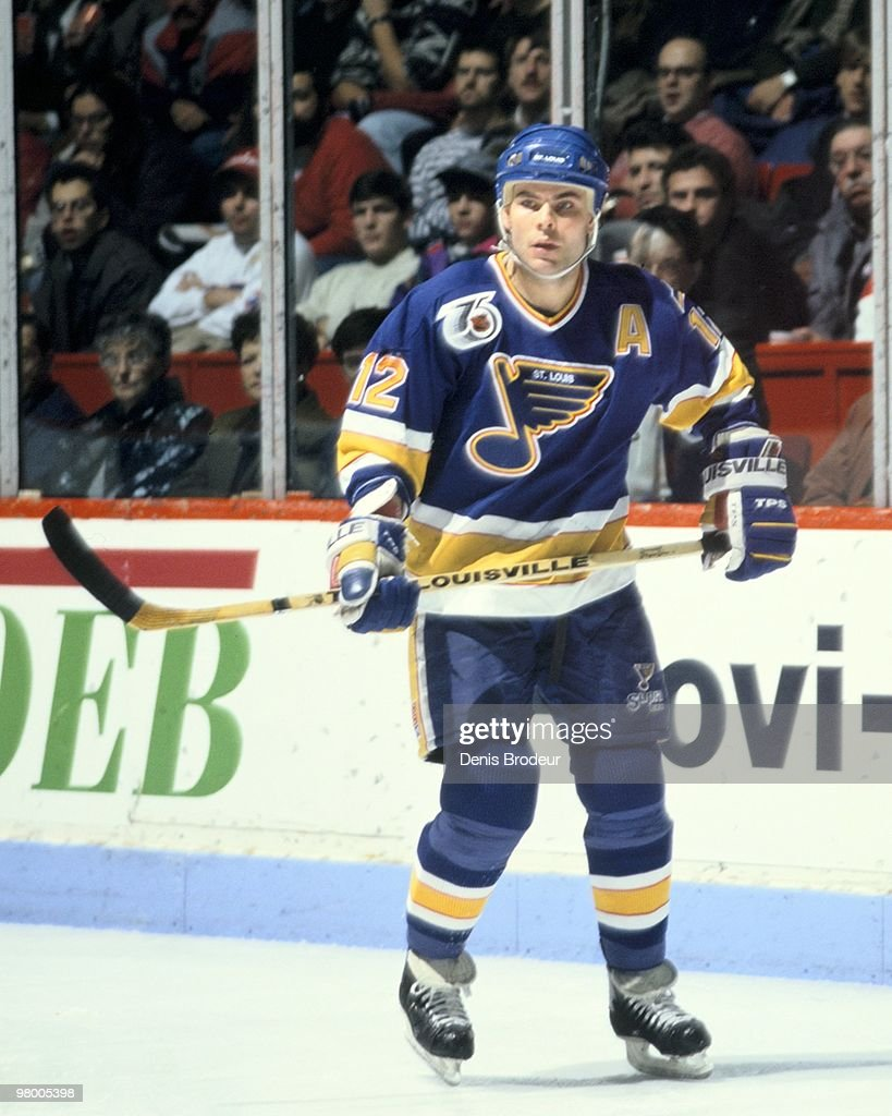 MONTREAL 1990's Adam Oates of the St Louis Blues skates against the Montreal Canadiens in the early 1990's at the Montreal Forum in Montreal Quebec...