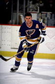 BOSTON MA 1990's Adam Oates of the StLouis Blues skates in pre game warm up prior to game against the Boston Bruins at Boston Garden