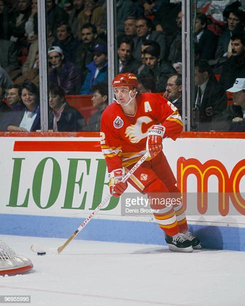 MONTREAL 1980's Al MacInnis of the Calgary Flames skates against the Montreal Canadiens in the late 1980's at the Montreal Forum in Montreal Quebec...