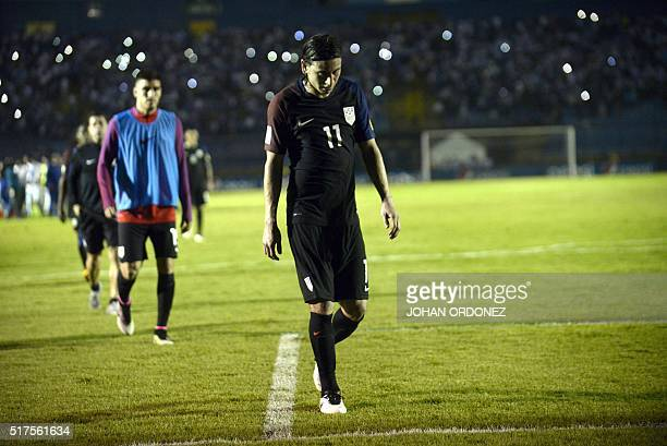 USA's Alejandro Bedoya leaves the field in dejection after being defeated by Guatemala 20 in a Russia 2018 FIFA World Cup Concacaf Qualifiers'...