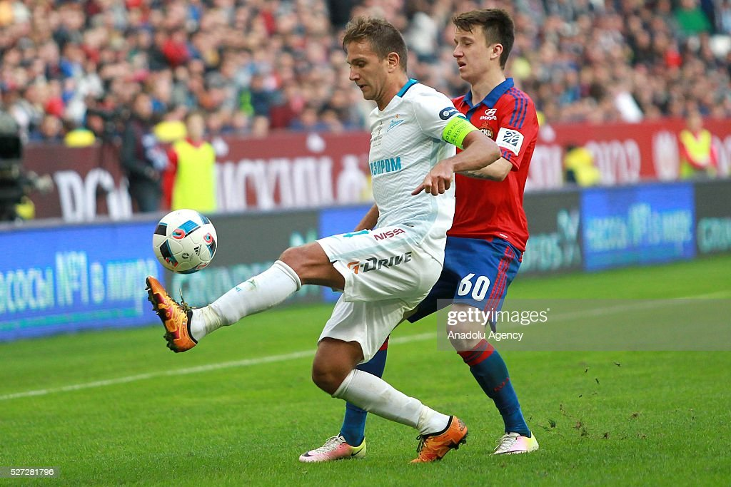 CSKA's Aleksandr Golovin (R) and Zenit's Domenico Criscito (L) fight for the ball during Russian Cup final match between CSKA Moscow vs Zenit St. Petersburg at Kazan Arena in Kazan, Russia on May 02, 2016.