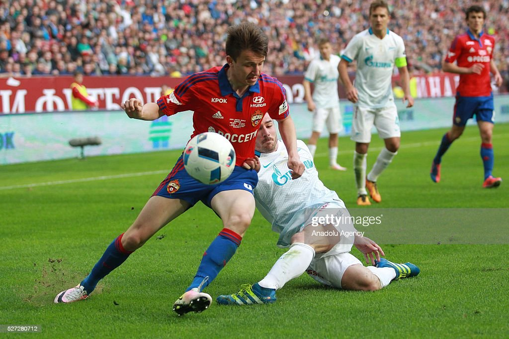 CSKA's Aleksandr Golovin (L) and Zenit's Javi Garc��a (R) fight for the ball during Russian Cup final match between CSKA Moscow vs Zenit St. Petersburg at Kazan Arena in Kazan, Russia on May 02, 2016.