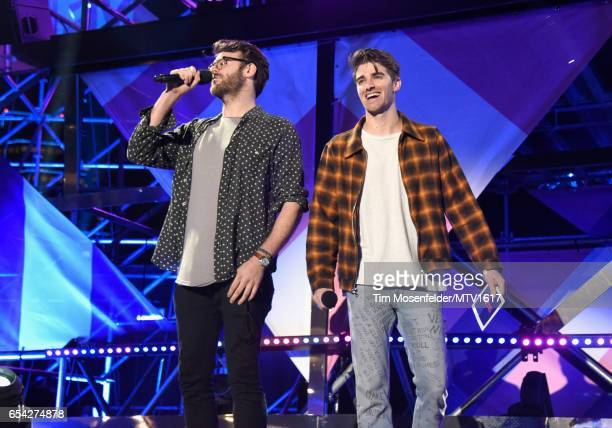 DJ's Alex Pall and Drew Taggart of The Chainsmokers speak onstage at MTV Woodies LIVE on March 16 2017 in Austin Texas
