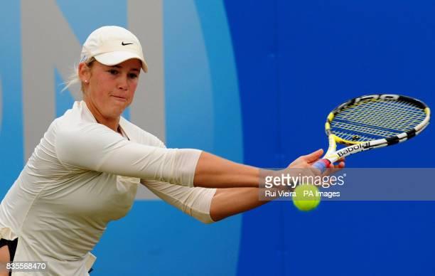 USA's Alexa Glatch in action against Russia's Maria Sharapova during day three of the AEGON Classic at Edgbaston Priory Birmingham