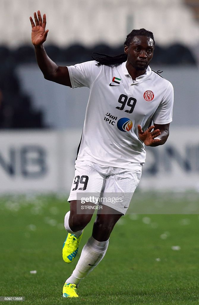 UAE's Al-Jazira club player Kenwyne Jones celebrates after scoring a goal during their AFC Champions League third round qualifying football match against Qatar Al-Sadd's club at the Mohammed Bin Zayed Stadium in Abu Dhabi on February 9, 2016. / AFP / STRINGER