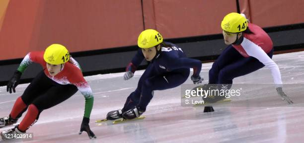 USA's Allison Baver in the Womens 500 M Short Track event at the Palavela venue in Torino Italy on February 12 2006