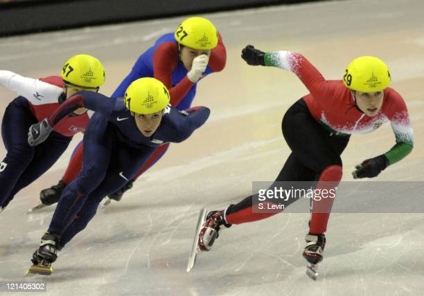 USA's Allison Baver makes her move in the Womens 500 M Short Track event at the Palavela venue in Torino Italy on February 12 2006