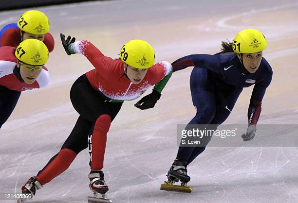 USA's Allison Baver moves into first in the Womens 500 M Short Track event at the Palavela venue in Torino Italy on February 12 2006