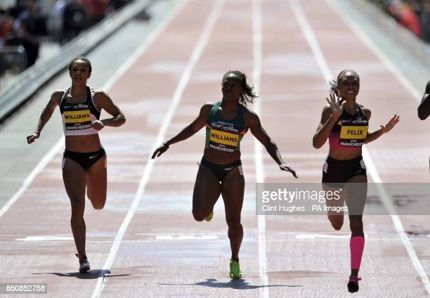 UA's Allyson Felix wins the women's 150m during the BT Great City Games in Manchester