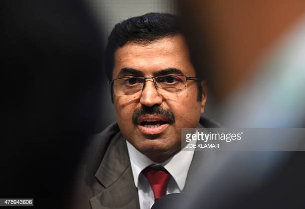 OPEC's alternate president Mohammed Saleh Al Sada minister of energy and industry of Qatar speaks to journalists during the 167th ordinary meeting of...