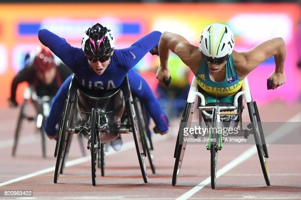 USA's Amanda McGrory and Australia's Madison de Rozario wins the Wome's 5000m T54 Final during day nine of the 2017 World Para Athletics...