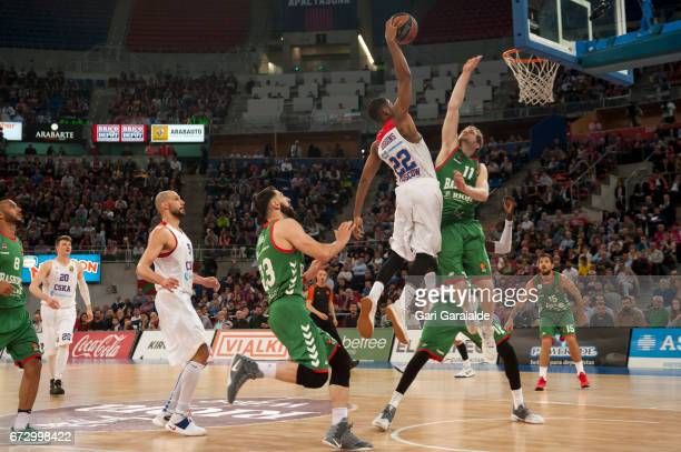 CSKA's American guard Cory Higgins drives to the basket during the Turkish Airlines Euroleague Basketball Playoff 3rd game between Baskonia Vitoria...