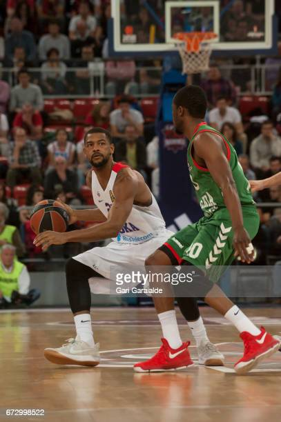 CSKA's American guard Cory Higgins vies with Baskonia's French guard Rodrigue Beauvois during the Turkish Airlines Euroleague Basketball Playoff 3rd...