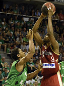 ASVEL's American point guard Casper Ware vies with SIG's French small forward Rodrigue Beaubois during the Pro A Basketball game 4 of the final match...