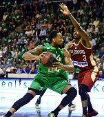 ASVEL's American point small forward David Lighty vies with SIG's French small forward Rodrigue Beaubois during the Pro A Basketball game 3 of the...