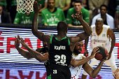 SIG's American small forward Mardy Collins vies with ASVEL's French small forward Charles Kahudi during the Pro A Basketball game 2 of the final...