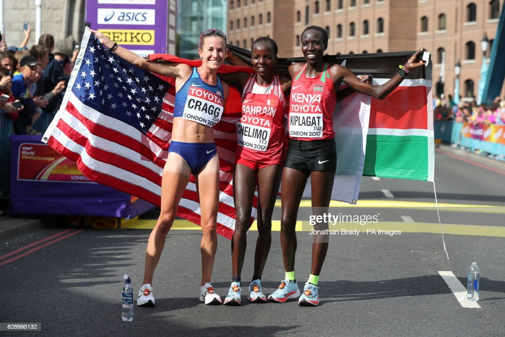 USA's Amy Cragg (bronze) , Bahrain's Rose Chelimo (gold) and Kenya's Edna Kiplagat (silver) celebrate during day three of the 2017 IAAF World Championships at the London Stadium.
