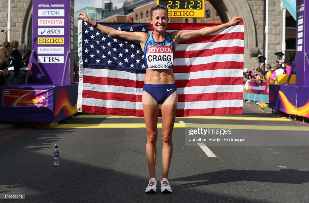 USA's Amy Cragg celebrates silver in the Women's Marathon during day three of the 2017 IAAF World Championships at the London Stadium.