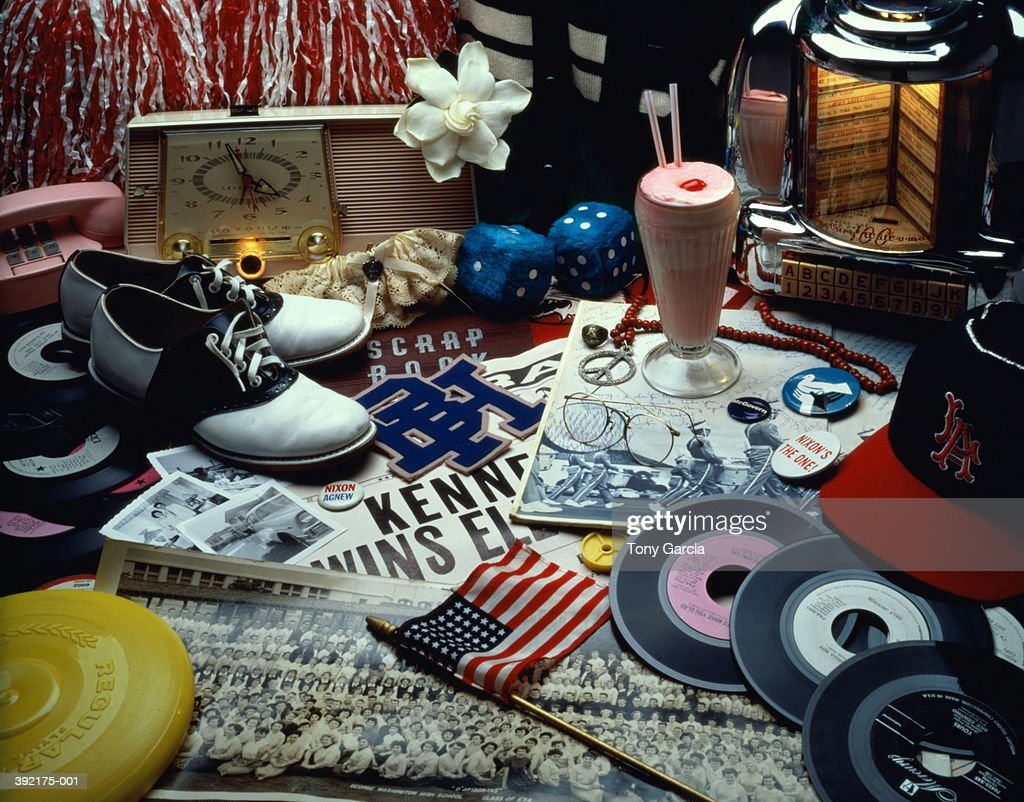 1950's and 1960's American memorabilia, music and clothing : Stock Photo