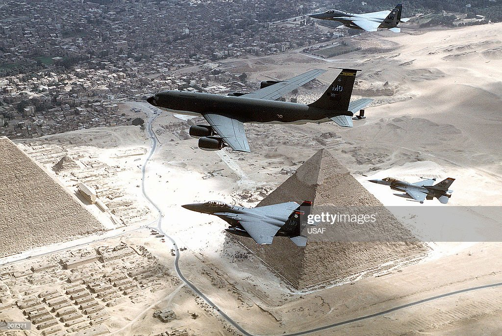 KC135R F15's and a F16 from the 366th Air Wing Mountain Home AFB Idaho fly over the pyramids of Egypt
