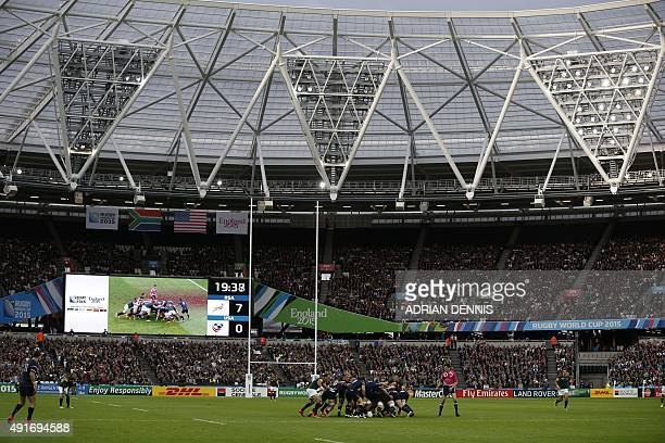 USA's and South Africa's players vie in a maul during a Pool B match of the 2015 Rugby World Cup between South Africa and USA at the Olympic Stadium...