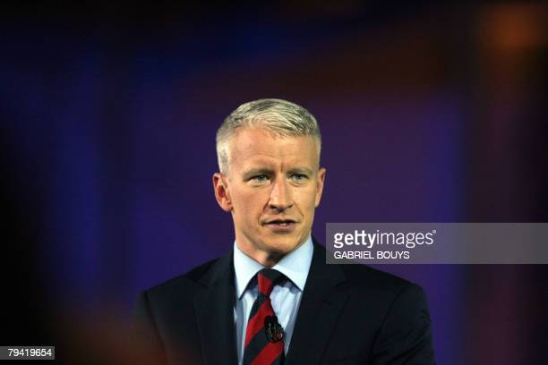 CNN's Anderson Cooper moderates the televised Republican Candidates Debate 30 January 2008 at the Reagan Library in Simi Valley California AFP PHOTO...