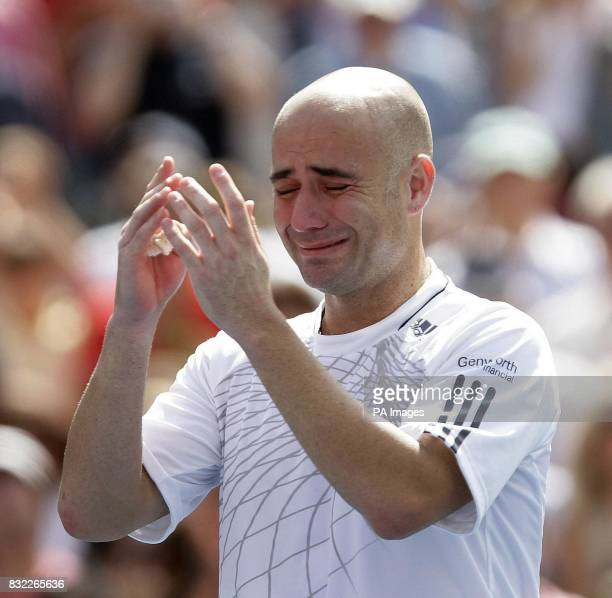 USA's Andre Agassi after losing to Germany's Benjamin Becker in the third round of the US Open at Flushing Meadow New York