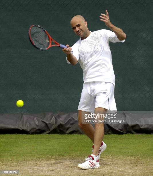 USA's Andre Agassi during a practice session at Wimbledon ahead of the Championships which start tomorrow