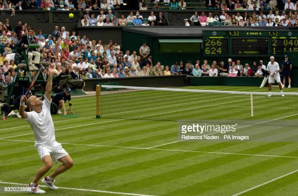 USA's Andre Agassi in action against Serbia and Montenegro's Boris Pashanski during the first round of The All England Lawn Tennis Championships at...