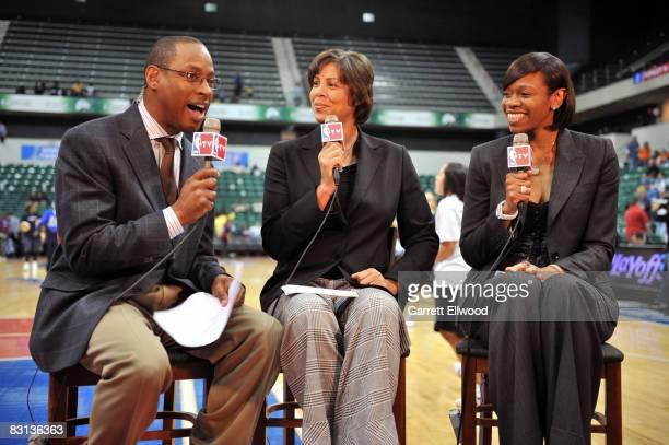 NBATV's Andre Aldridge Cheryl Miller and Tina Thompson do pregame of the San Antonio Silver Stars against the Detroit Shock prior to Game Three of...