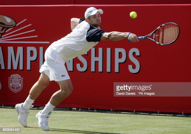 USA's Andy Roddick in action against Croatia's Marin Cilic during the Artois Championships at The Queen's Club London