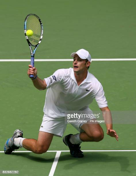 USA's Andy Roddick in action during his first round match against JoWhifried Tsonga in the Australian Open at Melbourne Park Melbourne Australia