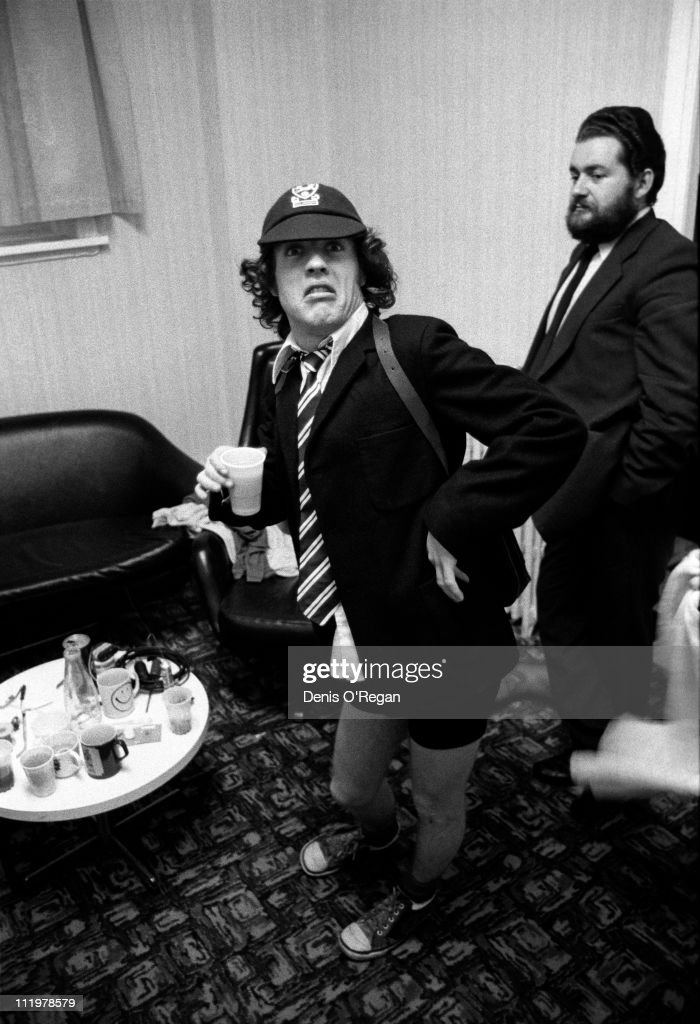 AC/DC's Angus Young backstage at the Gaumont, Southampton, during the Highway To Hell UK tour, 1979.