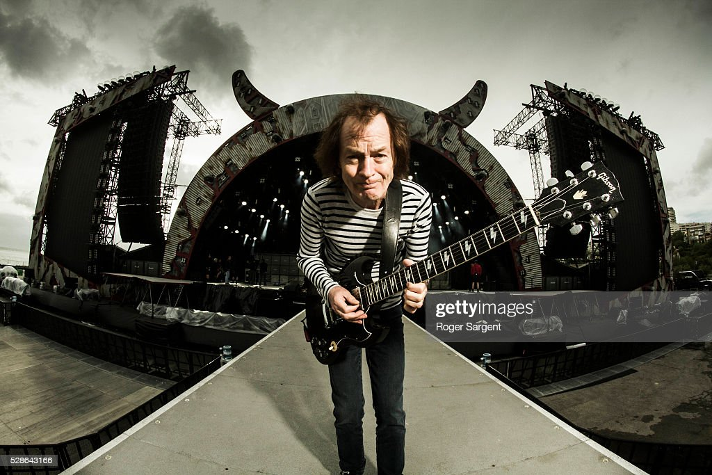 AC/DC's Angus Young poses as he warms up at the soundcheck for the opening night of the Rock Or Bust Tour At the Passeio Maritimo De Alges on May 6, 2016 in Lisbon, Portugal.
