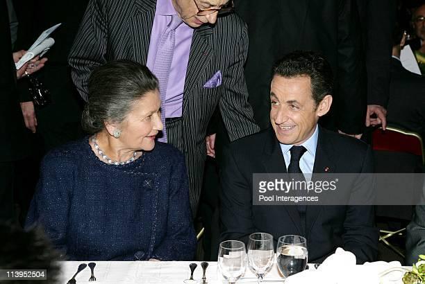 CRIF's annual dinner in the presence of Nicolas Sarkozy in Paris France on February 13 2008Simone Veil and Nicolas Sarkozy