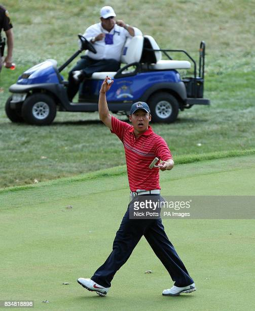 USA's Anthony Kim celebrates his victory over Europe's Sergio Garcia during Singles on Day Three at Valhalla Golf Club Louisville USA