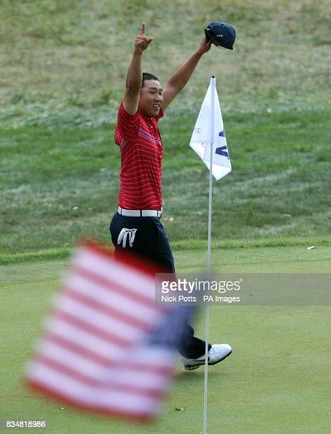 USA's Anthony Kim celebrates victory over Europe's Sergio Garcia during Singles on Day Three at Valhalla Golf Club Louisville USA