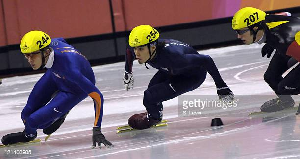 USA's Apolo Anton Ohno in the Mens 1500 M Short Track event at the Palavela venue in Torino Italy on February 12 2006