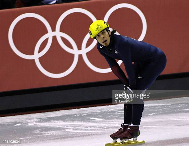 USA's Apolo Anton Ohno looks to the replay board in disbelief after he stumbled in the Mens 1500 M Short Track event at the Palavela venue in Torino...