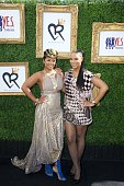 WE TV's April Daniels and singer Tamar Braxton attend WE TV's April Daniels 'Rock Out With Me Brunch' at SLS Hotel on October 24 2014 in Beverly...