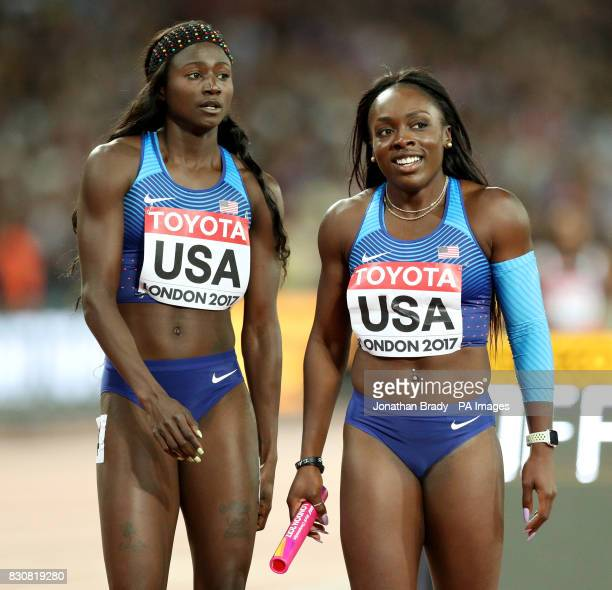 USA's Ariana Washington and Morolake Akinosun after winning gold in the Women's 4x100m Relay during day nine of the 2017 IAAF World Championships at...
