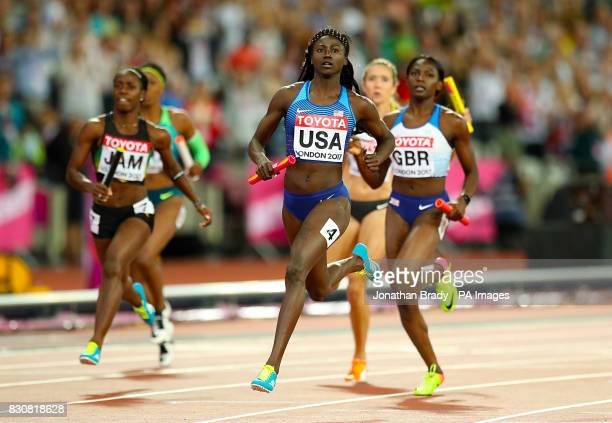 USA's Ariana Washington on her way to winning gold in the Women's 4x100m Relay during day nine of the 2017 IAAF World Championships at the London...
