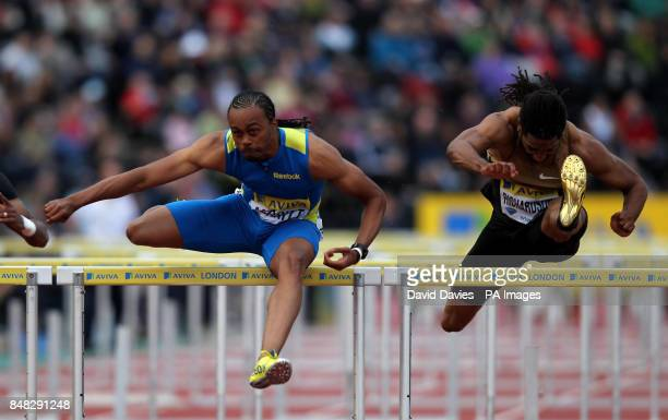 USA's Aries Merritt and USA's Jason Richardson during the Men's 110m Hurdles during day one of the 2012 Aviva London Grand Prix at Crystal Palace...