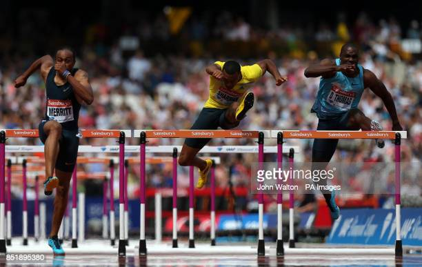 USA's Aries Merritt Great Britain's William Sherman and Jamaica's Dwight Thomas during the men's 110 metres hurdles heat two during day two of the...