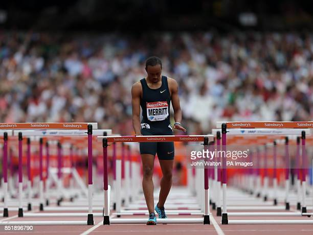 USA's Aries Merritt knocks dow the final hurdle after he fell during the men's 110 metres hurdles during day two of the IAAF London Diamond League...