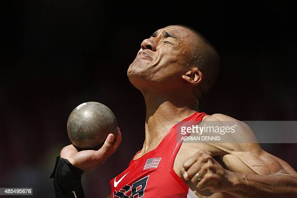 USA's Ashton Eaton competes in the shot put in the men's decathlon athletics event at the 2015 IAAF World Championships at the 'Bird's Nest' National...