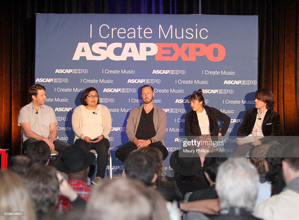 ASCAP's Associate Director Global Writer and Publisher Services Ryan O'Grady, ASCAP's Coordinator Film & TV Membership Yvette Martinez, composer Nicholas Jacobson-Larson, ASCAP's Associate Director Pop/Rock Membership Maura Duval, and ASCAP's Director Marketing & Communications Etan Rosenbloom speak onstage during the 'Maximizing Your ASCAP Membership' panel, part of the 2016 ASCAP 'I Create Music' EXPO on April 28, 2016 in Los Angeles, California.